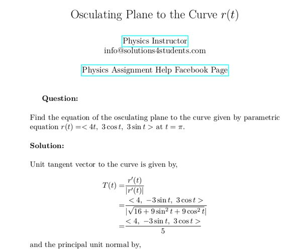 Osculating Plane To The Curve R T In 2020 Parametric Equation Computer Simulation Solutions