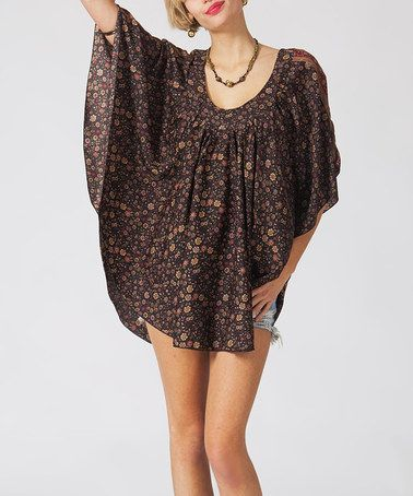 Another great find on #zulily! Brown Floral Scoop Neck Tunic #zulilyfinds