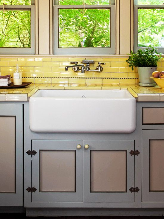 yellow subway tile kitchen backsplash sinks yellow tile and vintage on 1990