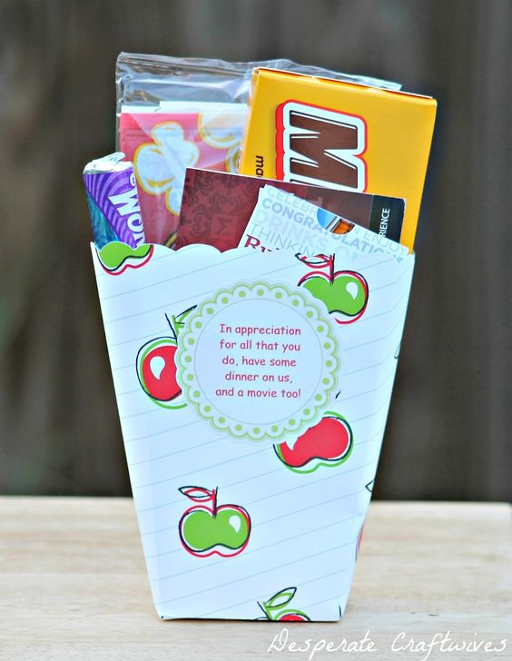 TEACHER GIFT:  In appreication for all that you do, have some dinner on us and a movie too.