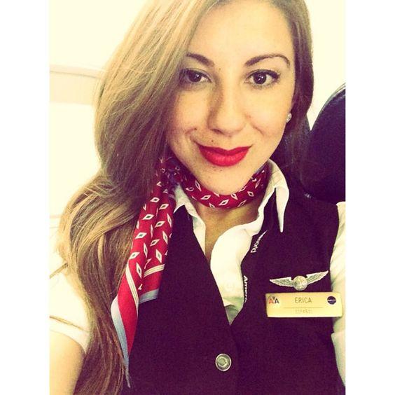 Ameican Airlines Stewardess, Rebel #HairDown #Ooops #FlightAttendant #Crew