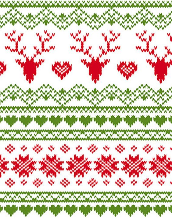 Knit - Fair Isle Reindeer Stripes with Hearts on White Background ...