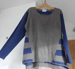 Womens-MASAI-CLOTHING-COMPANY-Wool-Lagenlook-Grey-Stripe-Jumper-Size-L-12-14-16