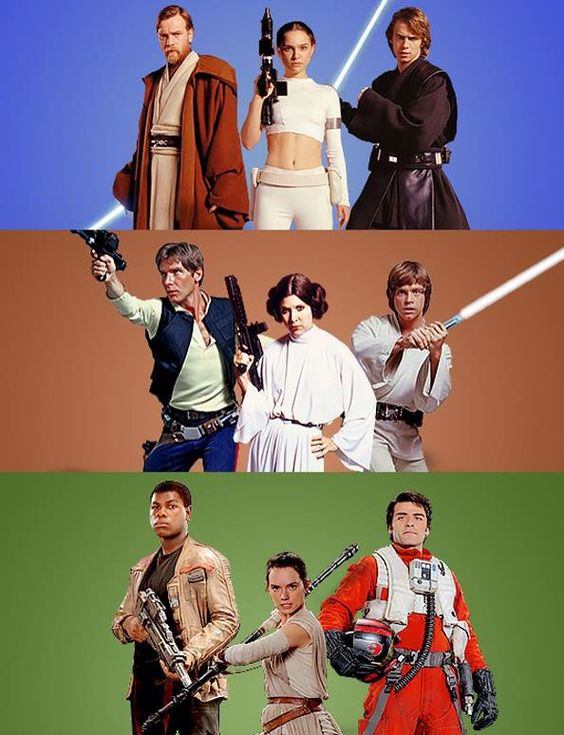 The three cool people from each trilogy. :P (Though I think Han still gets a place in the last one....)