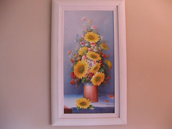 Raised Oil Painting  Sunflowers by Charles by SandECollectibles, $150.00