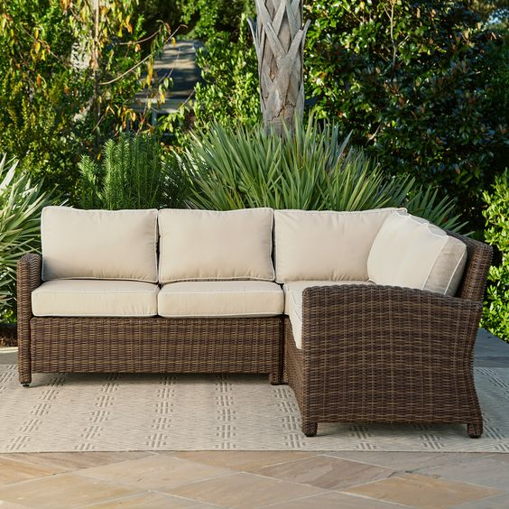 Birch Lane Lawson Wicker Sectional Outdoor Sofa Diy Patio Furniture Traditional Outdoor Furniture