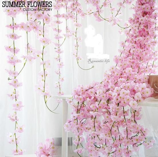2021 46 Artificial Cherry Blossom Hanging Vine Silk Flowers Garland Fake Plants Leaf For Home Wedding Decor From Daisy433 4 23 Dhgate Com Arch Decoration Wedding Ivy Wall Flower Wall