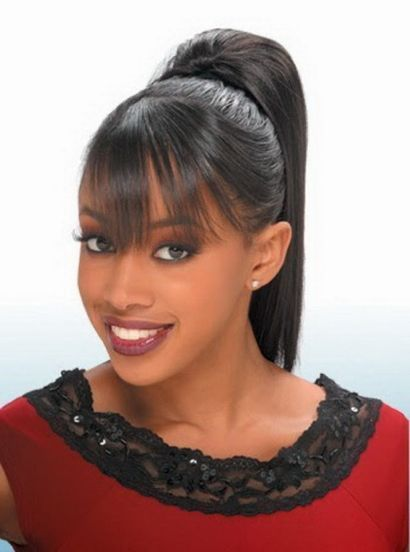 Black ponytail hairstyles with side bangs