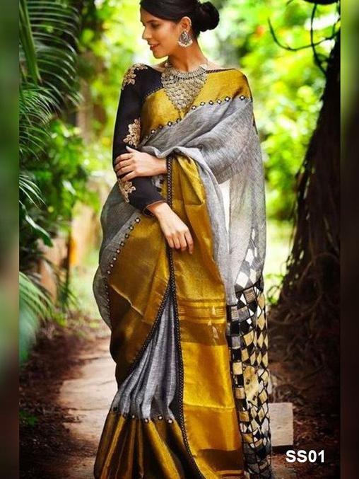 Black Soft silk with Pom Pom border work saree and blouse for women,wedding saree,indian saree,saree dress,saree for women,designer saree