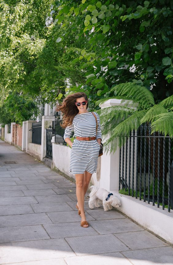 Love nautical stripes and the fringe on the shoes.