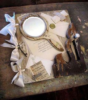 Layer upon layer of re-loved bits and pieces make up this vintage wedding album  healy@att.net