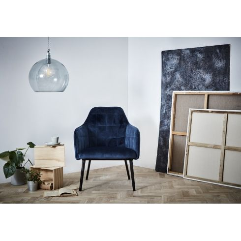 Enjoyable Dan Form Embrace Dining Chair Midnight Blue Velvet Caraccident5 Cool Chair Designs And Ideas Caraccident5Info