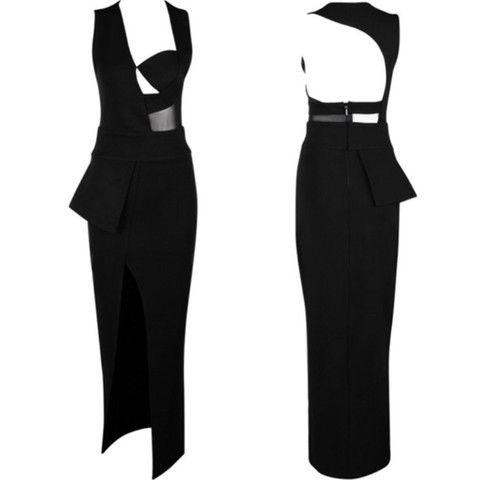 Origami black maxi dress