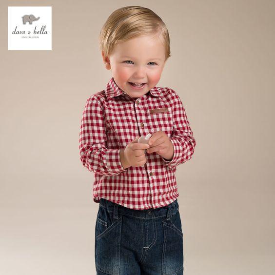 Aliexpress.com: Compre DB3941 dave bella outono bebê meninos camisa do bebê vermelho camisa xadrez menino camisa de algodão tops camisas do bebê dos meninos da manta do bebê camisa de confiança camisa imagem fornecedores em DAVEBELLA Official Store