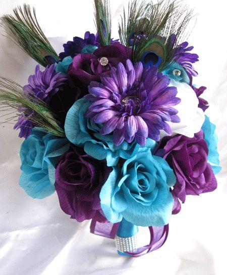 Turquoise Flowers For Wedding: Wedding Bouquet Bridal Silk Flowers TURQUOISE PURPLE PLUM