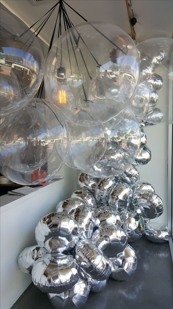 Silver foil balloon garlands