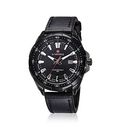 harwish Herren-9056Lederband Quarz-Uhr (schwarz schwarz) - http://uhr.haus/harwish/harwish-herren-9056-lederband-quarz-uhr-schwarz