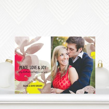 Add a colorful twist to your couples holiday card with 'Alluring Apple' #Holiday Photo Cards in Bright Red!
