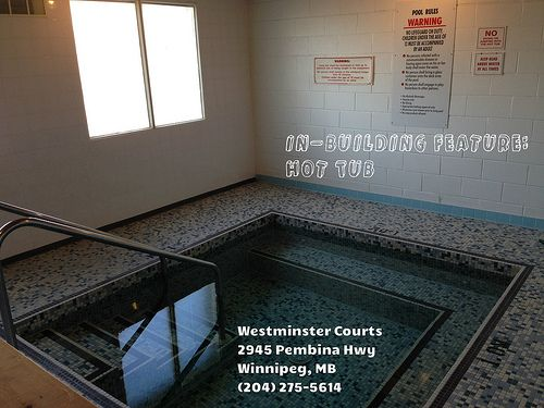 Westminster Court in Fort Richmond area of Winnipeg has a hot tub and dry sauna! Apartments for rent near U of Manitoba