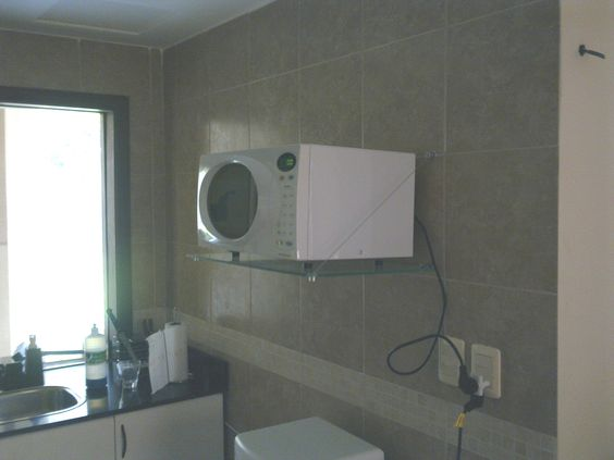 Kit estante para microondas vidrio cabos de acero y - Estante para microondas ...