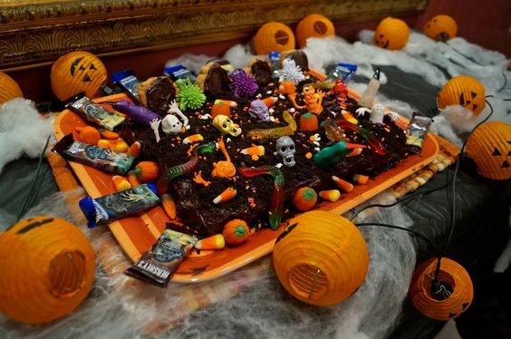 Halloween Graveyard Chocolate Cake Dessert -- Halloween Food