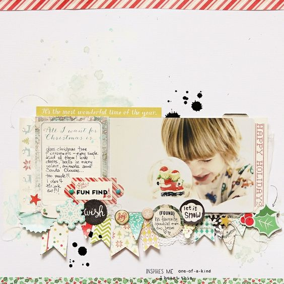 nice layout- photo(s) in a line, journaling card, and row of pennants / embellishments below.