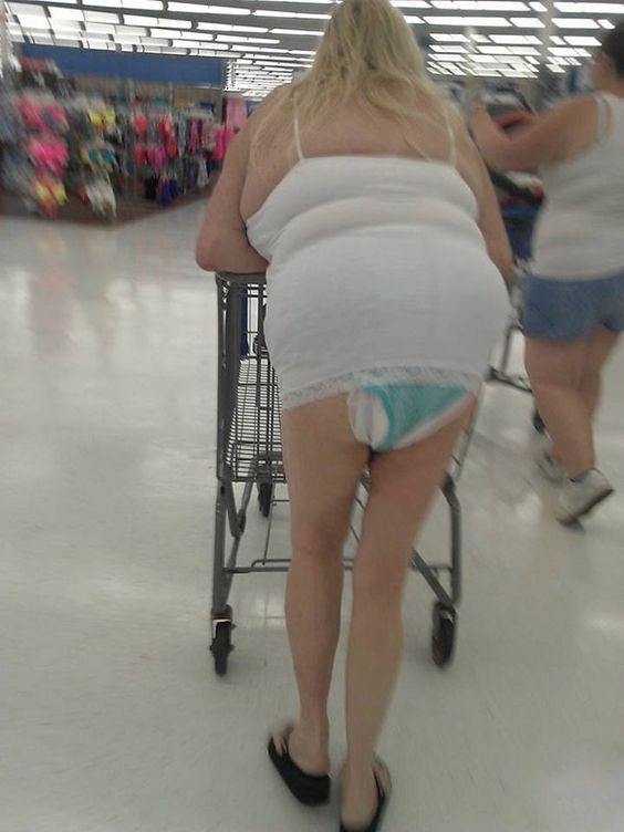 Adult woman in diaper
