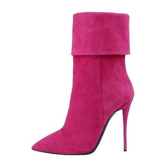 Fuchsia Suede Stiletto Boots ($150) ❤ liked on Polyvore featuring shoes, boots, sapato, shoes boots, synthetic boots, fuschia shoes, faux suede shoes, fake boots and faux suede boots