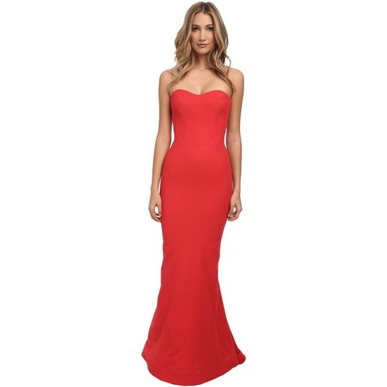 Zac Posen Long Bondage Jersey Dress Women's Dress, Red ($1,596) ❤ liked on Polyvore featuring dresses, red, red corset dress, jersey knit dress, red sweetheart neckline dress, red dress and long dresses
