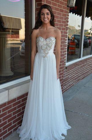 Long white graduation dresses ith sleeves