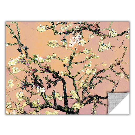 ArtApeelz 'Eggshell Almond Blossom' by Vincent Van Gogh Graphic Art Removable Wall Decal