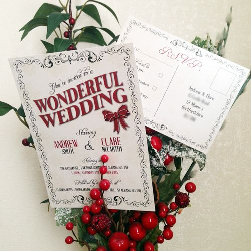 Christmas wedding invitation red and ivory invitation designed – Wedding Invitations Christmas
