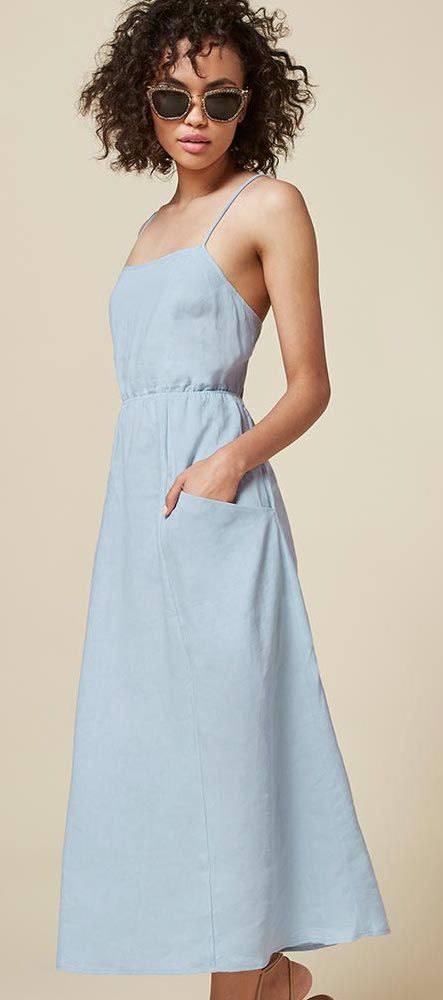 Reformation powder blue open back ankle length linen dress front