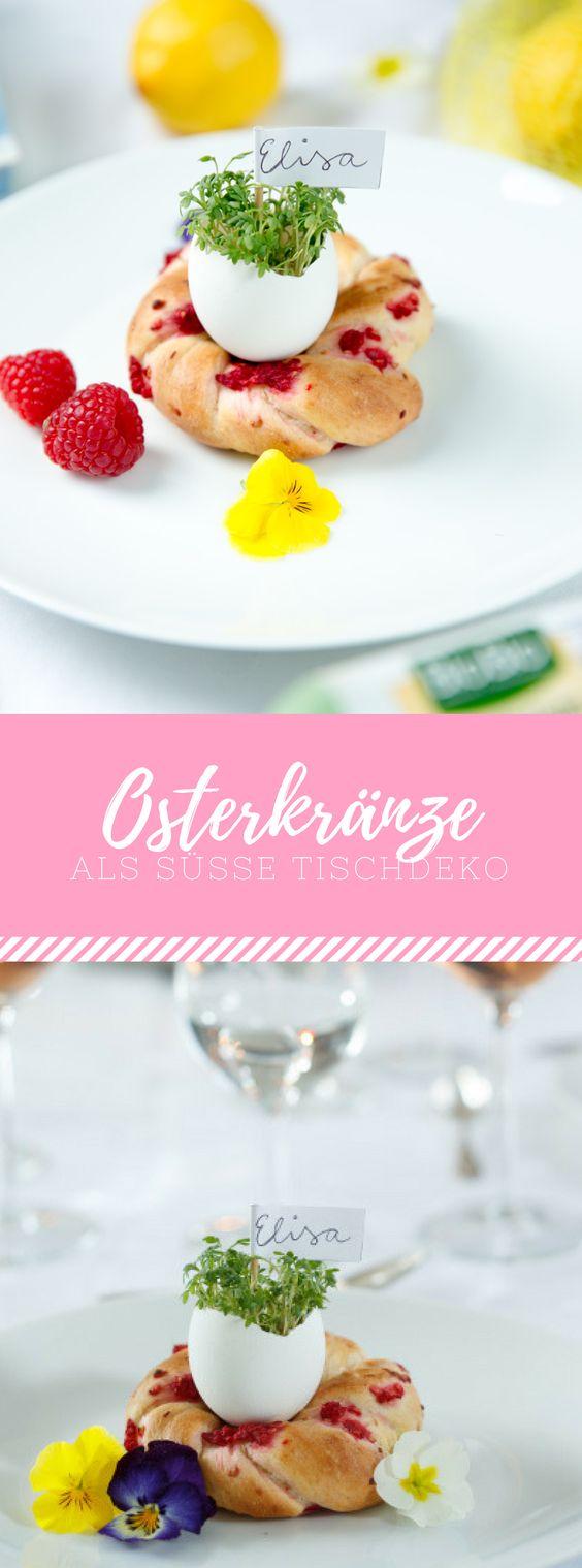 Süße Tischdeko mit Osterkränzen