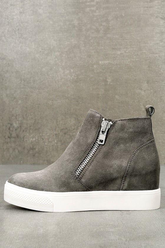 Wedgie Grey Suede Leather Hidden Wedge