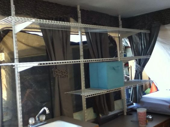 Portable Storage Trailer : Portable shelves for our tent trailer that give me huge