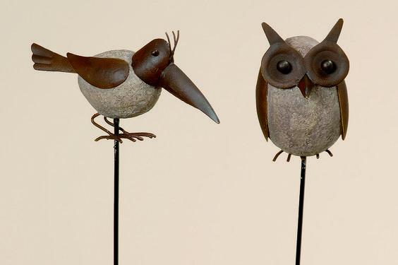 Set van twee tuinprikker #uil en #vogel