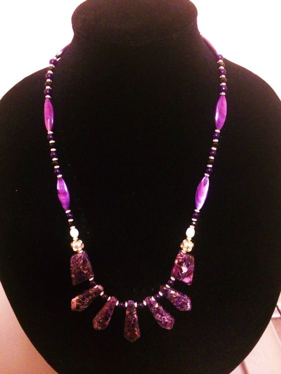DEEPURPLE Purple Jasper and amethist necklace by PAANDR on Etsy, $60.00
