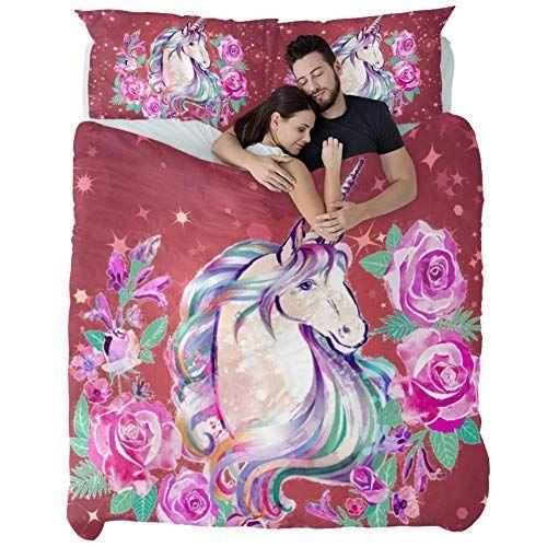 Luxurious Bed Set California King Unicorn Starry Dark Powder Duvet Cover Set 3 Piece Bed Sheet Set Non Pillin Duvet Cover Sets Best Duvet Covers Bed Sheet Sets