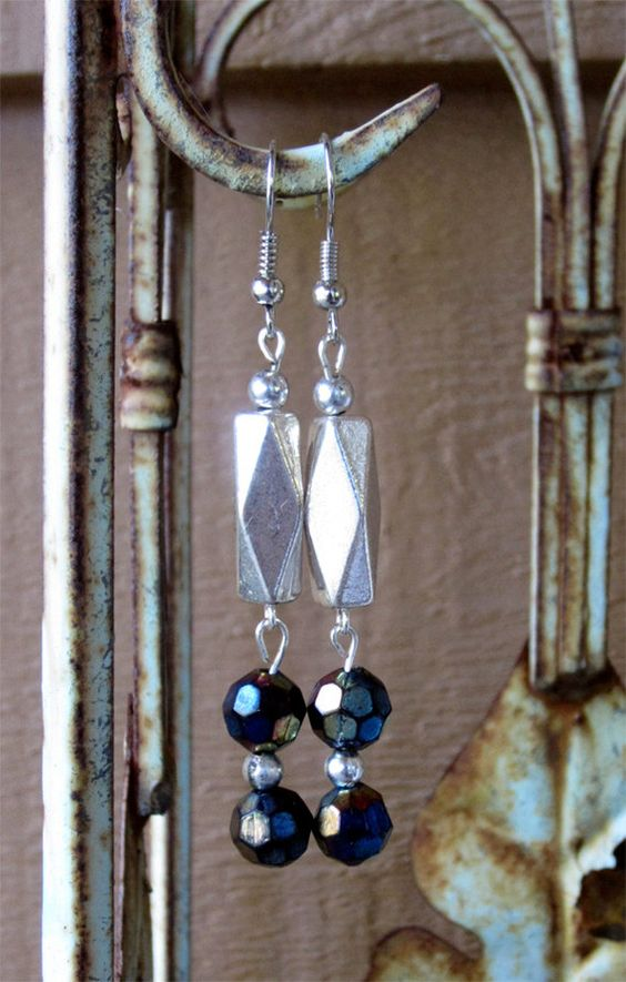 Silver and Black Beads Earrings by designsbypbe on Etsy, $10.00