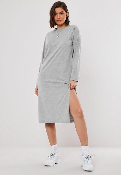 Gray Long Sleeve Midi T Shirt Dress   Long sleeve midi, T shirt ...