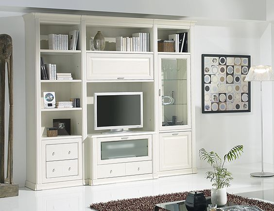 Librer a y muebles de sal n cl sicos color blanco modelo for Muebles bibliotecas para living