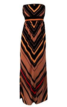 Mitered Multi-Stripe Maxi Dress                                                                      front view