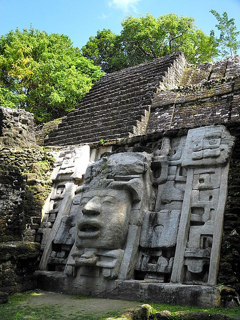 Lamanai Mayan Ruins, Belize. There is evidence on Mayan life that dates from about 1500 B.C. through Postclassic (A.D. 950-1544) and Spanish colonial times (A.D. 1544-1700)