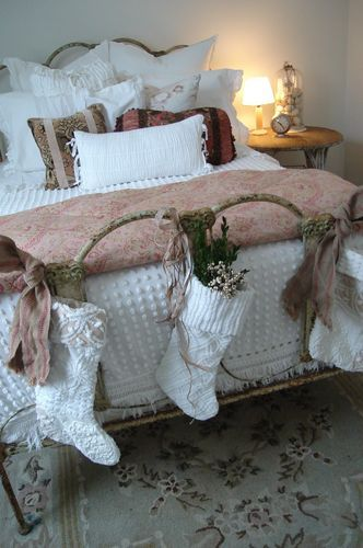 Beautiful guest room w/chenille spread & chenille stockings from patinawhite.typepad.com