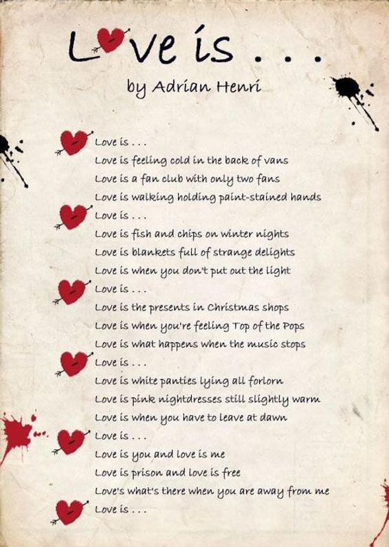 Image result for Love Is' by Adrian Henri