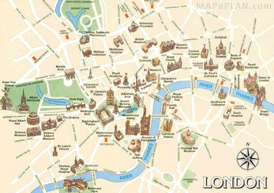 London maps - Top tourist attractions - Free, printable - Mapaplan.com