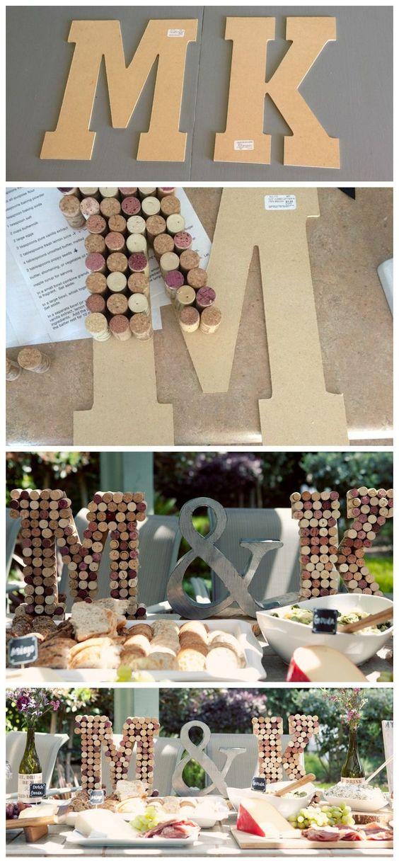 Cork monogram letters, cork décor, wine themed bridal shower, DIY monogram wine cork letters. Popular with the Poplins