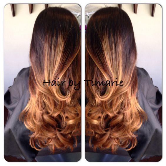 Honey Balayage in natural black hair. We do honey cellophane treatments once a month to