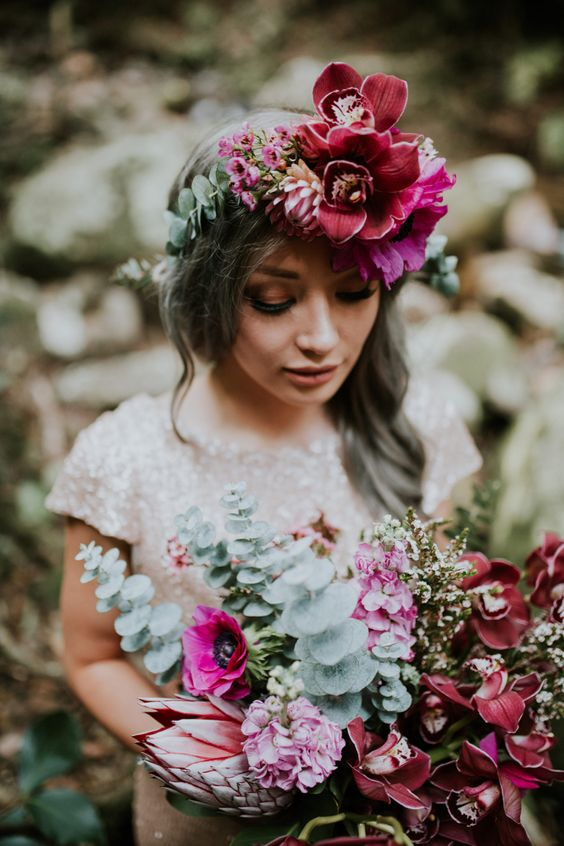 Wedding Color Schemes For Fall - flowers are one of the easiest way to incorporate color -With loose waves and a lush headpiece of mauve and magenta blooms, the first sequinned look takes a relaxed approach -  by Alana Taylor - Wedding Soiree Blog by K'Mich, Philadelphia's premier resource for wedding planning and inspiration
